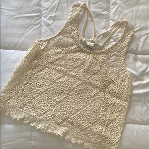 Cream Crochet Tank - Small